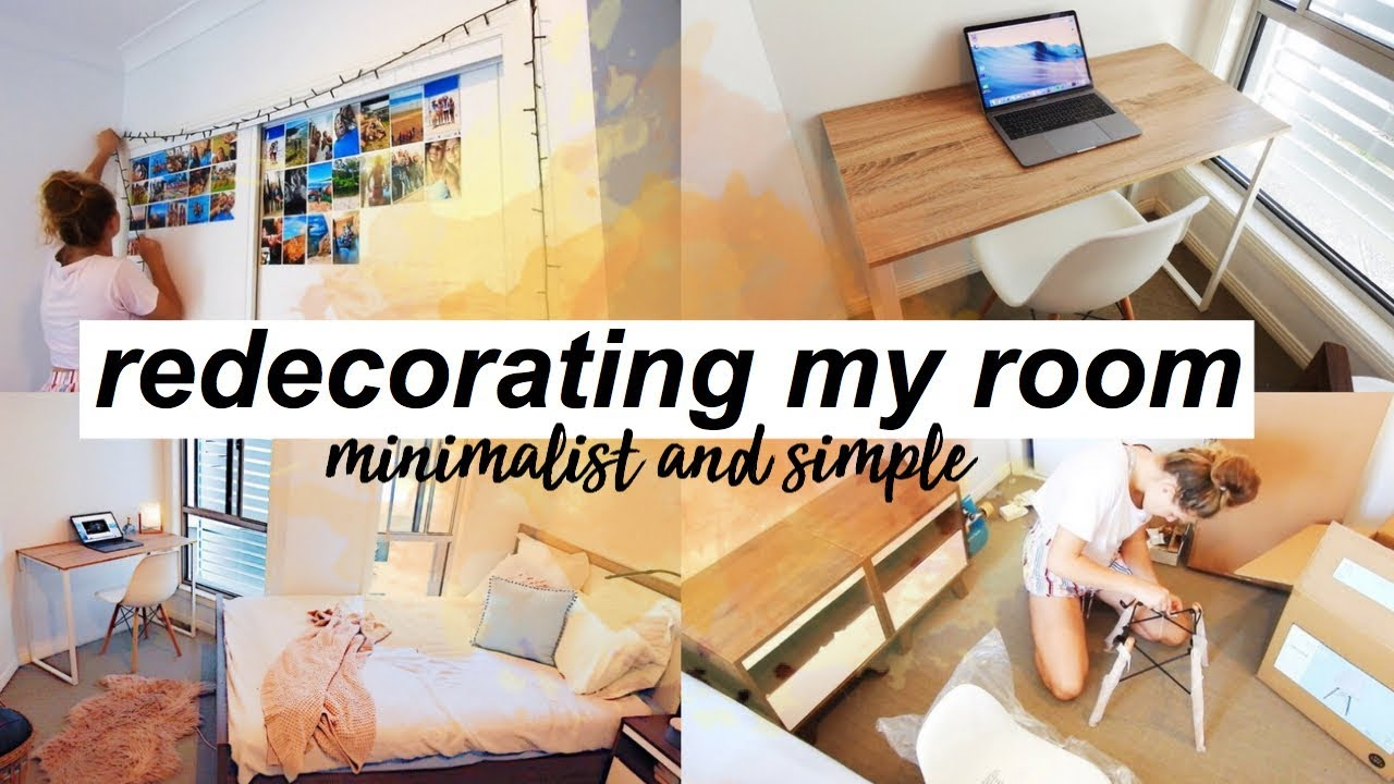 redecorating my room 2017, minimalist & simple - YouTube
