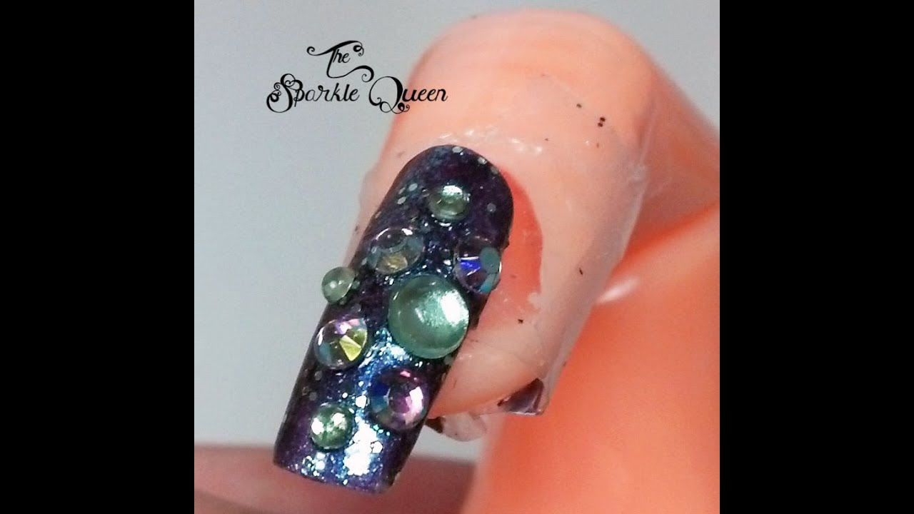 3d Rhinestone Purple And Green Glitter Nail Art Tutorial Youtube