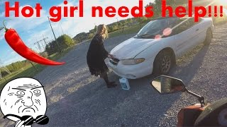 Hot girl needs help with car!!!/I almost lay it down/My boys take a beating lol!(I talk to some girl who is pulled over on the side of the road! there is a pt 2 coming :), 2016-10-24T03:00:40.000Z)