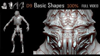 ZBRUSH SCULPT( D9 Tribute-All Basic Shapes) FULL VIDEO in HD