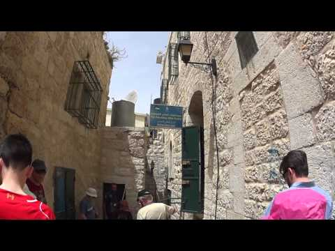 Walking in the ancient streets of Bethlehem, Palestine. Tour