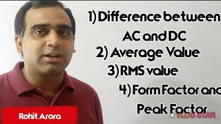 AC and DC, Average value, RMS value by Rohit Arora #DifferencebetweenACand DC