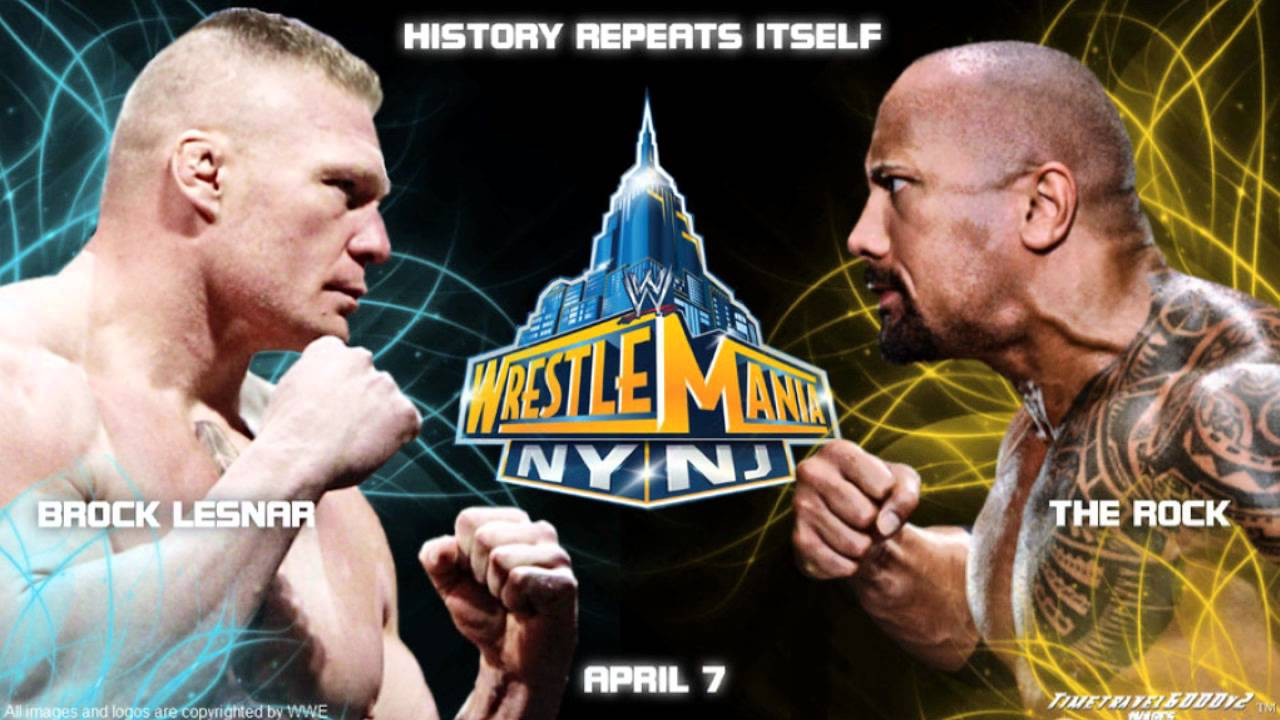wwe wrestlemania xxix custom wallpaper: the rock vs brock lesnar