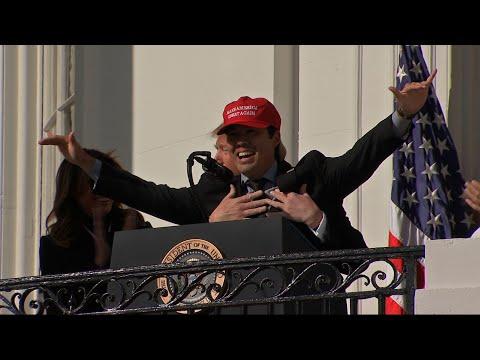 Garret Lewis - Nationals Player Put On MAGA Hat At White House Visit, Trump Hugs Him