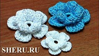 Crochet 2-Layered Flower Урок 3  Вязание Цветов