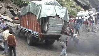 indian lorry taking corner.mov