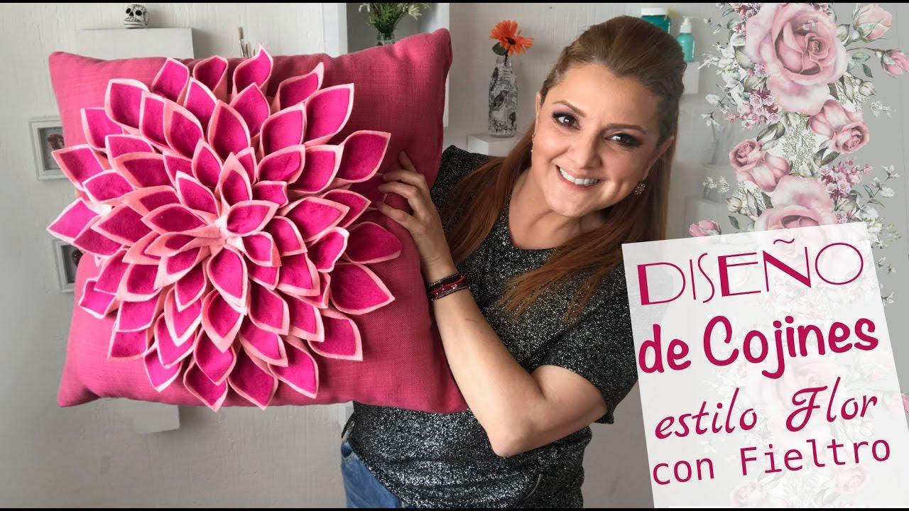 Hacer Cojines Fieltro.Como Hacer Cojines De Flores Decora Con Poco Dinero Pillow Diy Pillow Flower