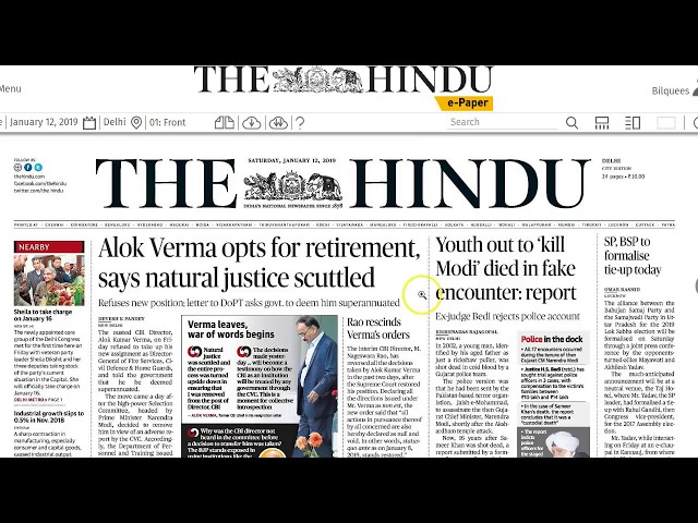12 January 2019 - IMPORTANT HEADLINES The Hindu Current Affairs  - Mrs. Bilquees Khatri