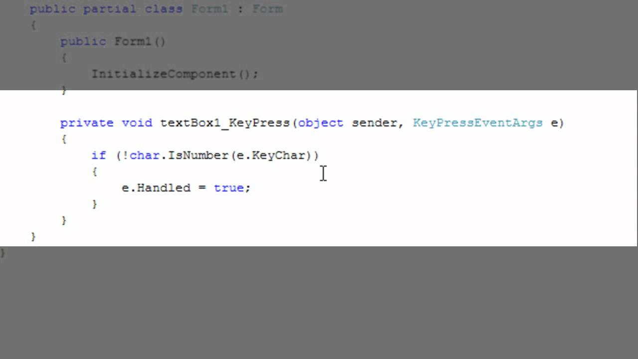 Restricting TextBox input to numbers only in C#