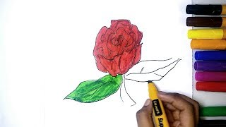 How to Draw and Color a Rose Step by Step | Kids painting Pages | Learn Color for Kids