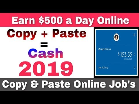 Earn $500 a Day Copy Paste Job's Online, Without Investment 2019 | With Payment Proof