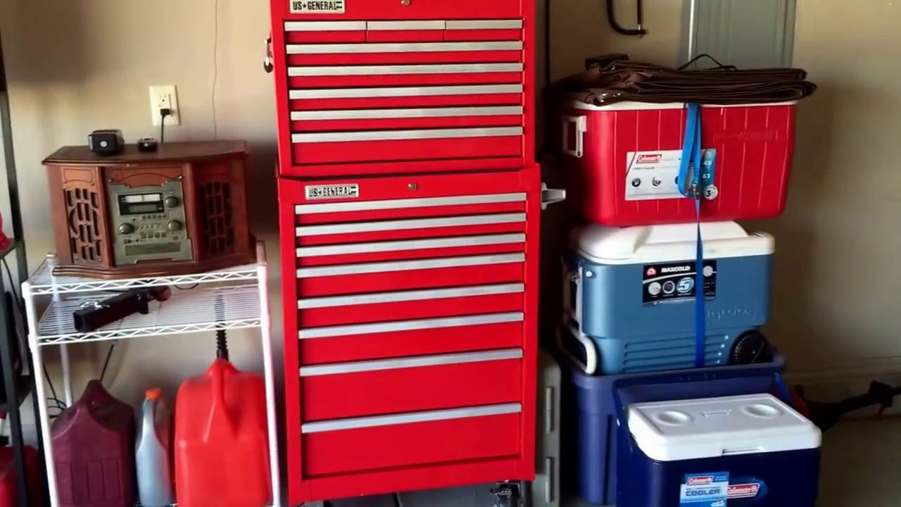 U S General Pro 26in 16 Drawer Roller Cabinet Combo Youtube
