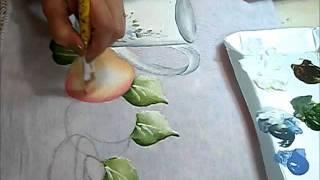 Pintando bule com pêssegos