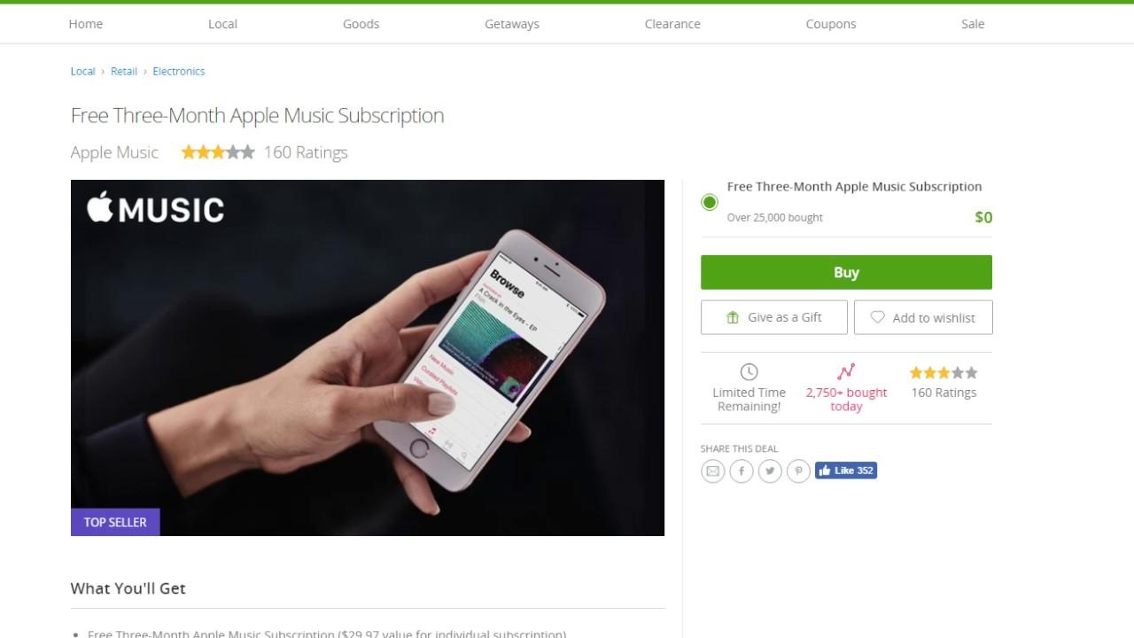 apple music free groupon youtube