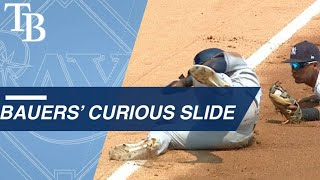 Bauers bizarrely slides into third base