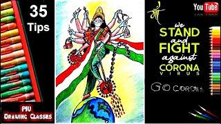 Bharat Mata On Coronavirus Prevention Awareness Poster Drawing I 35 Tips Prevention From Coronavirus