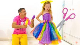 Настя и папа делают сами платья для вечеринки