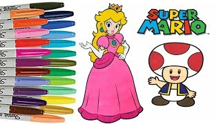 Super Mario Bros Coloring Book Page Princess Peach Toad Coloring Nintendo