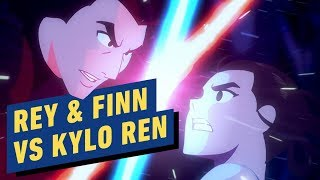 Rey and Finn vs. Kylo Ren Animated Lightsaber Battle - Star Wars Galaxy of Adventures
