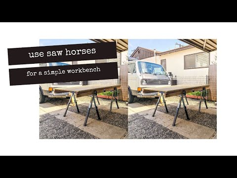 Simple WORKBENCH // Portable and Made with Saw Horses // DIY