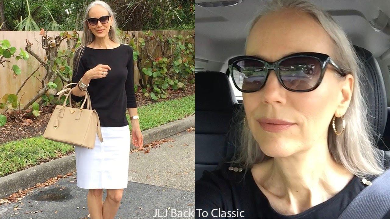 Vlog: Black Tee, White Pencil Skirt, Prada Bag OOTD / Classic Fashion, Style Over 40, 50
