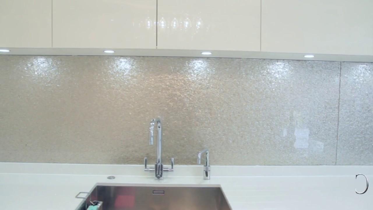 Premium Collection Deep Silver Glass Kitchen Splashback Creoglass