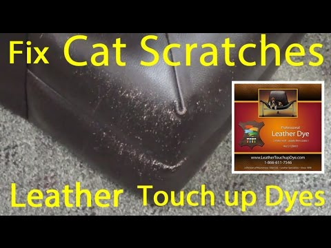 HOW to TOUCH UP CAT SCRATCHES on LEATHER - Leather DYE Repair Kit