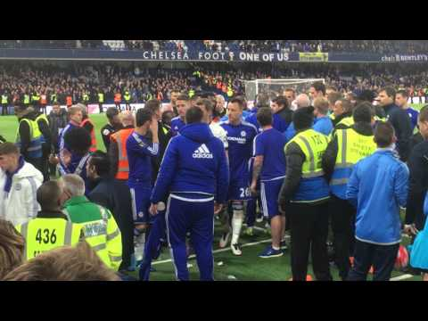 Chelsea vs Tottenham 2 May 2016. Guus Hiddink fell down by Tottenham player