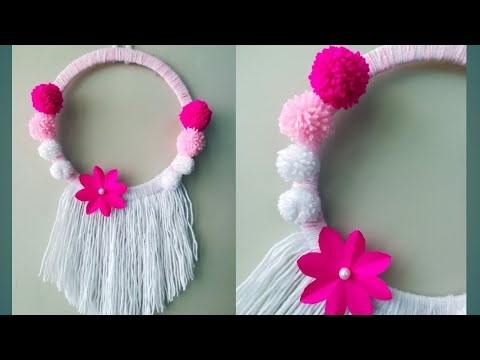 Diy paper flower and woolen wall hanging/ Woolen craft/ paper flower wall hanging/ Easy home decor