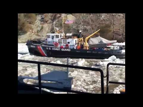 Coast Guard Harbor Tugs break ice on Connecticut River
