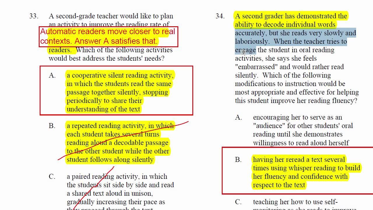 Reading Instruction Practice Test 1 Items 31 39 Youtube