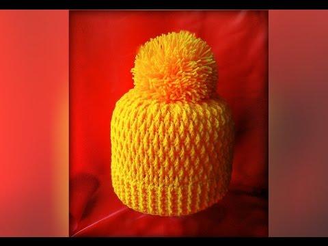 Вяжем зимнюю шапочку для девочки крючком