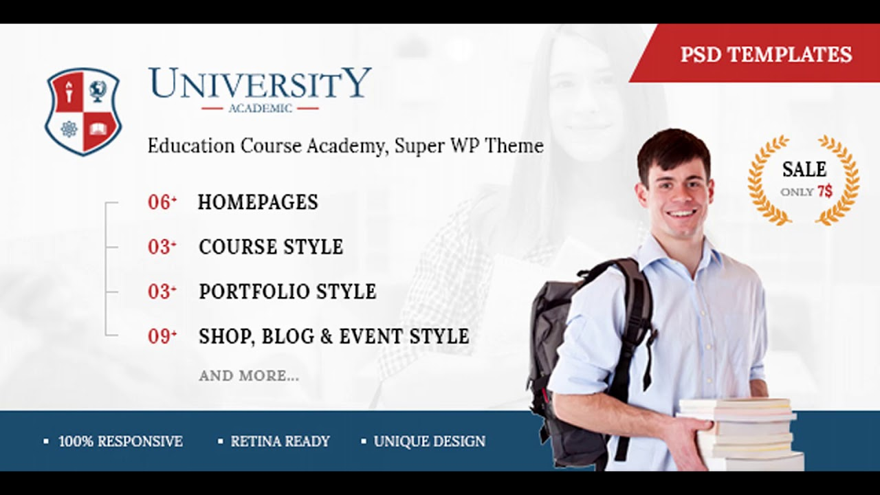 University - Education Course Academy PSD Templates | Themeforest ...