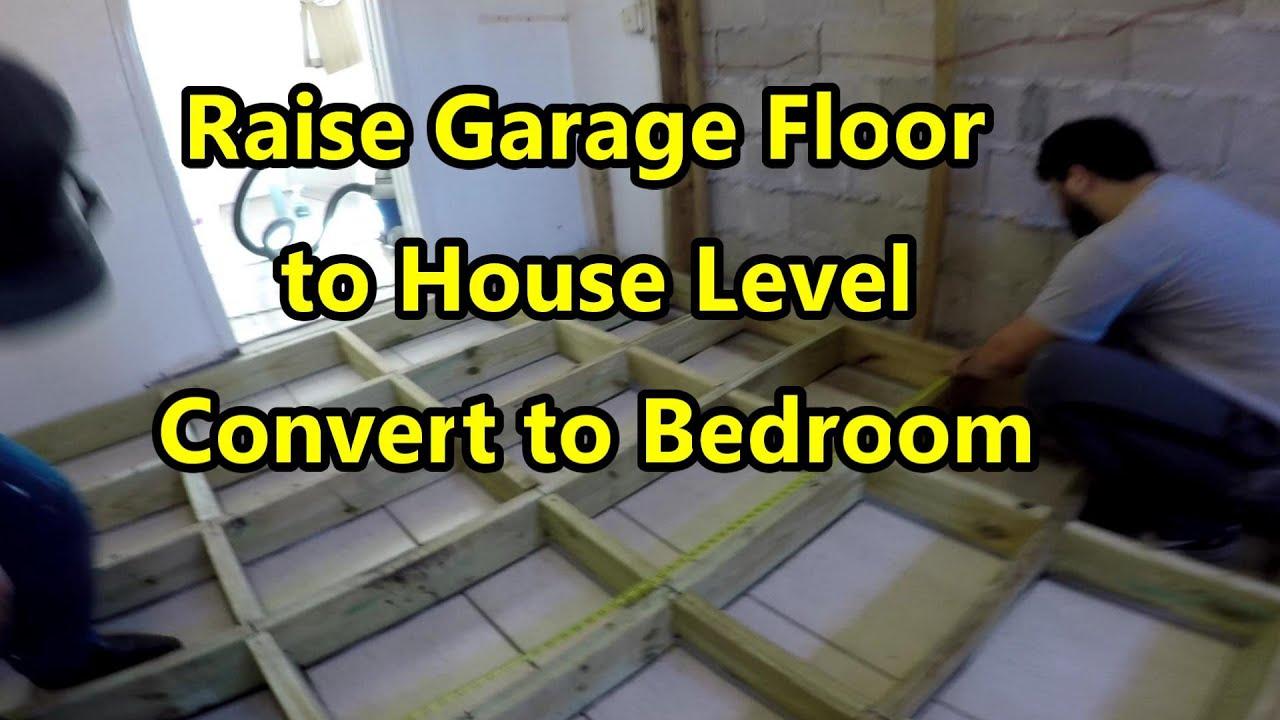 How To Raise Garage Floor House, Level Garage Floor With Wood