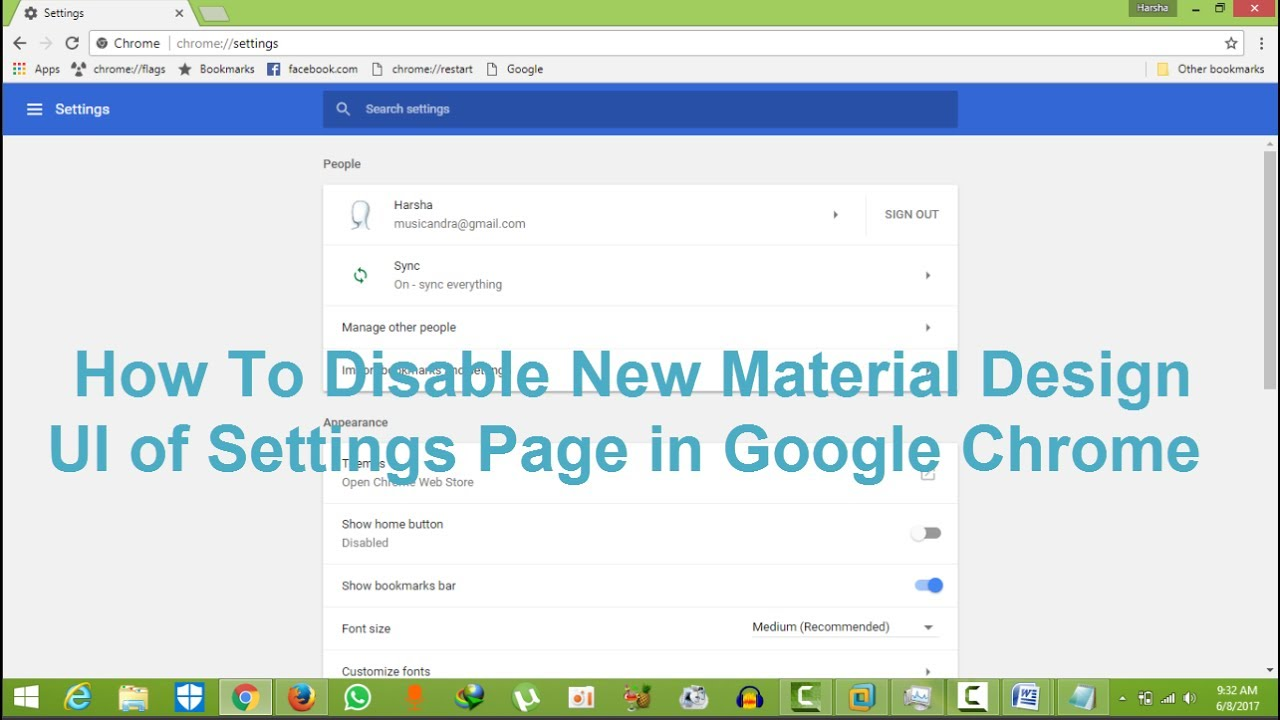 how to disable new material design ui of settings page in google
