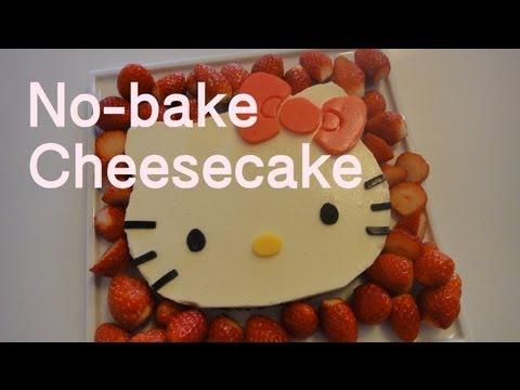 hello-kitty-no-bake-tofu-cheesecake-キティちゃん豆腐レアチーズケーキレシピ-recipe