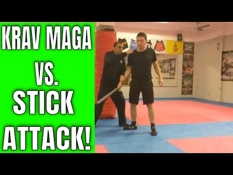 Krav Maga training- defending a stick attack from the side