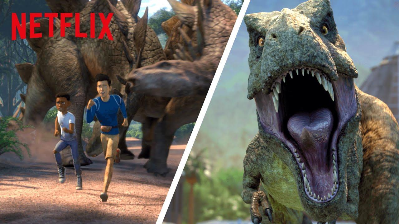 Download Best Dinosaur Escapes & Closest Calls 😰 Jurassic World Camp Cretaceous | Netflix Futures