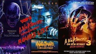 A NIGHTMARE ON ELM  STREET TOP 5 FAVORITE MOVIES RANKED.