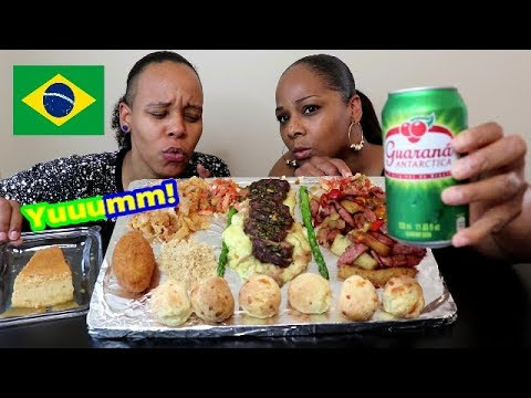 Americans Try Brazilian Food Mukbang Pao de Queijo Yucca Flour Picanha and more