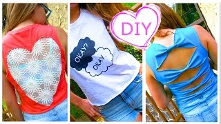 DIY Clothes! 3 DIY Tops from T-Shirt (Lace Heart, Graphic, Bows) - No Sew! Easy