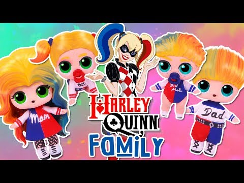 The HARLEY QUINN FAMILY 🃏with CUSTOM LOL SURPRISE DOLLS and LIL SISTERS! Toy Transformations
