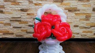Как сделать корзину из шаров ,для цветов из шариков ШДМ/flower vase from balls from balls