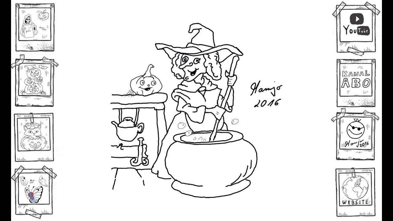 Halloween Hexe Witch Einfach Easy Zeichnen Draw Speed Tutorial Youtube