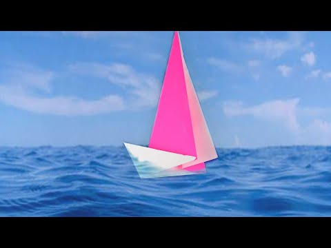 How to make a paper sailboat very easy. Tutorial origami yacht for beginners