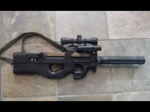 Ruger 1022 22lr Rifle Mounted In Custom Fn P90 Airsoft Stock