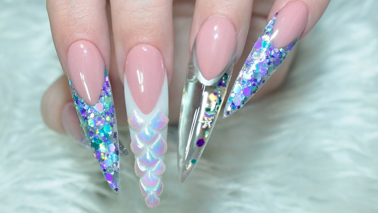 mermaid aquarium acrylic nails