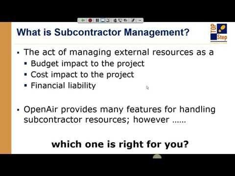 OpenAir Expert Webinar Series: Subcontractor Handling
