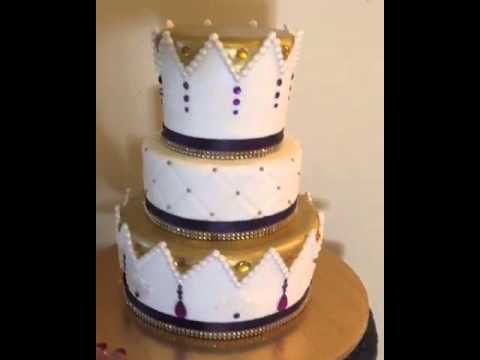 Three tiered Kings crown gold and purple cake with jewels YouTube