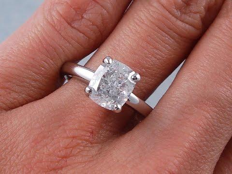2.01 ct Cushion Cut Solitaire Diamond Ring F SI2